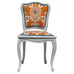 Check out this item at One Kings Lane! White Side Chair w/ Floral Upholstery