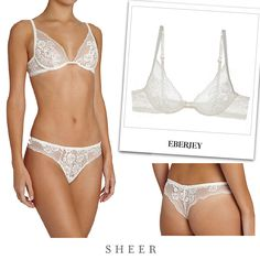 Eberjey NOOR LACE UNDERWIRE BRA from SHEER BRIEF: https://www.sheer.com.hk/collections/eberjey/products/noor-lace-cheeky-bikini  THONG: https://www.sheer.com.hk/collections/eberjey/products/noor-lace-thong