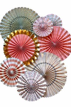 15.00 SALE PRICE!  These 8 Trend Gold Foil Accented Party Fans are the perfect base to start with when decorating for your event! They are so beautiful and a...