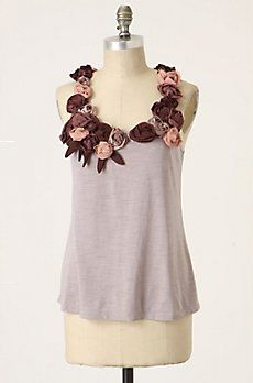 """I own this """"One September"""" brand lavender flower tanktop, and I love it.  The bulk of the top is sometimes hard to balance, and I have a hard time wearing this as an """"every day"""" top (too fancy), but it's all cotton, so not actually too formal."""