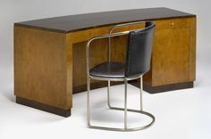 """Hjort Desk & Chair  Hjorth, Axel Einar Producer:NK Nordiska Kompaniet Year:'30s Size:h.76cm/29,64"""" d.69cm/26,91"""" w.188cm/73,32"""" Object no:4409 Dark and light stained birch. NK metal tag. Chair in nickel. Recovered in leather. Desk model """"Birka""""."""
