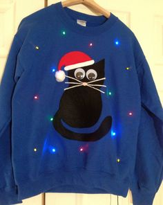 light up ugly christmas sweater christmas kitty from grand rapids - Lighted Christmas Sweaters