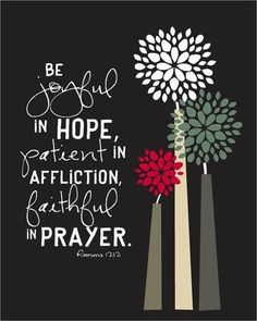 Lord, help me to stay joyful in hope (not hopeless), patient in affliction (not despairing), and faithful in prayer (not giving up). Thanks! ~Coppelia