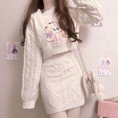 Kawaii Dress, Kawaii Clothes, Korean Girl Fashion, Ulzzang Fashion, Sweater Skirt, Cropped Sweater, Kawaii Fashion, Cute Fashion, Teen Fashion Outfits