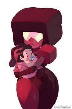 Garnet with baby Steven by bluekomadori.deviantart.com on @DeviantArt