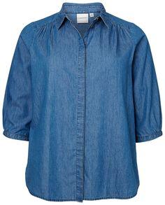 Super lækre Enkel skjorte i let denim med 3/4 ærmer Junarose Modetøj til Damer i lækker kvalitet