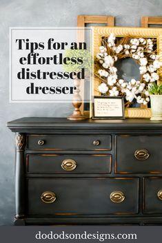 I don't think I'll ever use sandpaper again! Tips on an effortless distressed dresser. #paintedfurniture #distressed #furnituremakeover