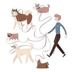 An illustration made for a dog walking business flyer.