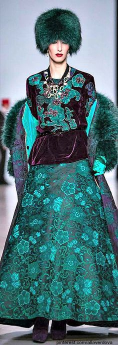 Russian designer Slava Zaitsev | The House of Beccaria#  Do I put this on my Teal board or my Purple board?  Who cares!  The colors look fabulous together!  ♥♥♥♥♥♥♥  LD