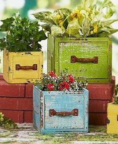 Set of 3 Outdoor Rustic Garden Planters Wooden Garden Decor Patio Decor New Wooden Garden Planters, Diy Planter Box, Diy Planters, Flower Planters, Rustic Planters, Planter Ideas, Outdoor Planters, Container Flowers, Garden Crafts