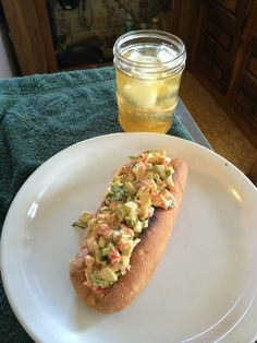 Crawfish PoBoy.... 12 oz. crawfish tail meat (WallyWorld) 3 stalks of celery = chopped finely 1 diced avocado = small chunks 3 green onions = chopped finely dill weed to taste fresh ground pepper to taste old bay seasoning to taste 5-6 T. Mayo 1/4 C. cilantro  Salt if needed hoagie rolls slit on top, buttered, granular garlic, and broiled or toasted.  Serve with some tater chips and your favorite libation.