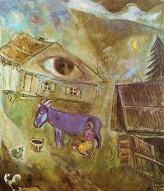Acheter Tableau 'la maison avec l' vert œil' de Marc Chagall - Achat d'une reproduction sur toile peinte à la main , Reproduction peinture, copie de tableau, reproduction d'oeuvres d'art sur toile