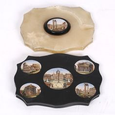 A Grand Tour paperweight  mounted with micro-mosaic of the Roman Forum and one other Grand Tour paperweight inset with five micro-mosaics including The Forum, The Pantheon, the Coliseum, St Peter's and The Temple of Vesta