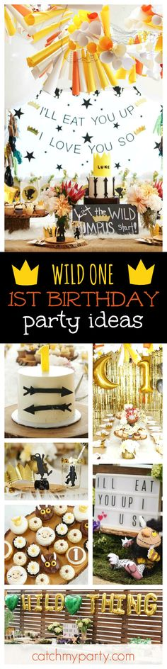 Check out this amazing 'Where the Wild things are' inspired Wild One 1st birthday party. The decorations are incredible!! See more party ideas and share yours at CatchMyParty.com