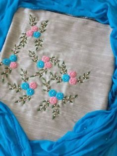 Shop For Designer wear Saree Embroidery Design, Embroidery On Kurtis, Hand Embroidery Dress, Embroidery Neck Designs, Embroidery On Clothes, Embroidery Works, Hand Embroidery Patterns, Ribbon Embroidery, Floral Embroidery