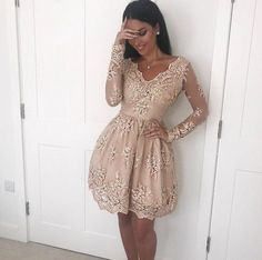 37a630050bdb Fabulous A Line V Neck Long Sleeves Champagne Short Homecoming Dress with  Lace Appliques