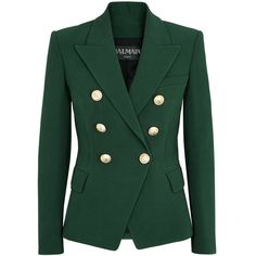 Balmain Green Double-breasted Blazer - Size 10 ($2,195) ❤ liked on Polyvore featuring outerwear, jackets, blazers, green jacket, shoulder pad blazer, double breasted jacket, double-breasted blazer and balmain jacket