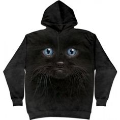 The Mountain Black Cat Hoodie - Adult Hooded Sweatshirts, Hoodies, Animal Faces, Casual, Kids Outfits, Personal Style, Kitten, Classic T Shirts, Black