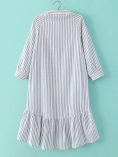 Полосатое платье с воланами