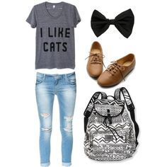 Perfect High School outfit except the shirt I don't love cats that much