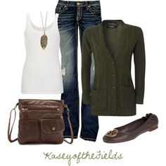 """""""Leafy"""" - BLONDE & BLONDE Cable Knit Cardigan, $30. A.O.CMS white cotton ribbed tank top, $24. BKE Stella Stretch Jean, $60. TORY BURCH Reva Ballet Flat Lan Grey Brown Leather, $195."""