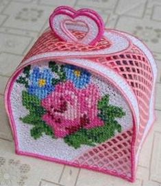 Discover thousands of images about Advanced Embroidery Designs - FSL Rose Gift Box Plastic Canvas Ornaments, Plastic Canvas Tissue Boxes, Plastic Canvas Christmas, Plastic Canvas Crafts, Plastic Canvas Stitches, Plastic Canvas Patterns, Advanced Embroidery, Beaded Banners, Rose Gift