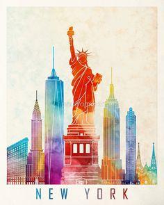New York landmarks watercolor poster - Fine Art Print Landmarks skyline Poster Gift Illustration Artistic Colorful Landmarks - SKU 1998 New York Drawing, New York Landmarks, New York Illustration, New York Poster, Skyline, New York Art, Vintage New York, New York Travel, City Art