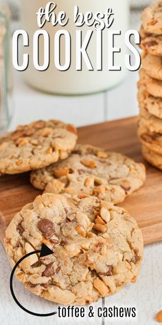Crunchy Toffee Cashew Cookies filled with pieces of buttery salted toffee and salty cashews. They are the perfect accompaniment to a glass of cold milk! Toffee Cookies, Oatmeal Chocolate Chip Cookies, Brownie Cookies, Cake Cookies, Chocolate Cheesecake, Milk Recipes, Cookie Recipes, Dessert Recipes, Cookie Flavors