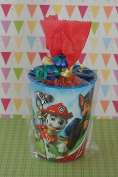 This listing is for 6 Character Themed Birthday Party Favor Cups.  Our Favor Cups come pre-filled with an assortment of 4 yummy candies (some