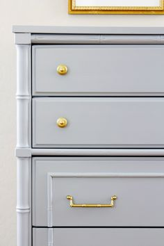 Vintage faux bambou dresser in Benjamin Moore's Gray Timberwolf and Sweatshirt Gray.