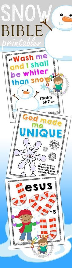 Winter Bible Verse Printables for Sunday School. Snowman, Snow, Angels, Unique like a Snowflake and Candy Cane Jesus Printables and resources for teaching.