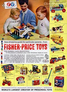 New & classic Fisher-Price preschool toys (1965)  Read more at http://clickamericana.com/eras/1960s/new-classic-fisher-price-preschool-toys-1965 | Click Americana