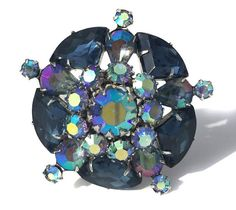Blue Rhinestone Brooch with Sector & Pear and by RibbonsEdge