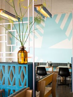 Wall paint! Fonda Hawthorne Restaurant by Techné Architecture + Interior Design