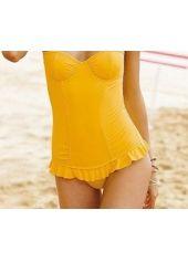wholesale Cute Shiny Yellow Lace Up Monokini for Women