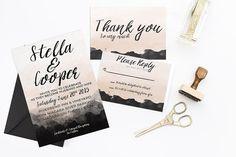 STELLA SUITE wedding invitation rsvp by lovelylittledesignco