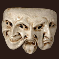 Trifaccia mask - Commedia dell'arte Shows the three different sides of a human being.