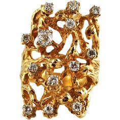 14 K Gold Diamond Vintage Freeform Ring