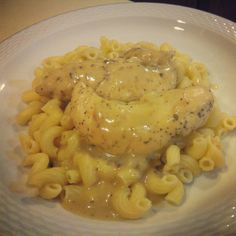 Baked Chicken with honey mustard and horseradish over Barilla elbows
