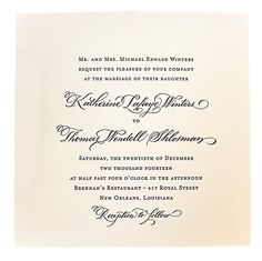 Classic invitation with calligraphed names at Scriptura.