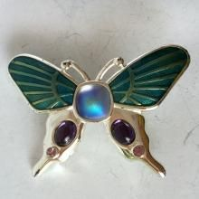 Silver tone enameled BUTTERFLY shape brooch pin with rhinestones and cabochons, signed MONET