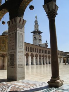 The Ummayad Masjid - Damascus, Syria with a voew of the minaret of the bride