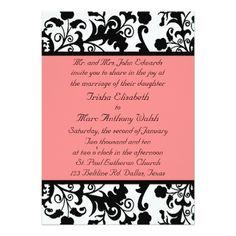 Elegant Black White and Peach Wedding Invitation #wedding #weddinginvitations #invitations #weddingplanner