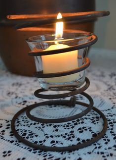 Steampunk Industrial Style Rustic Spring Candle Holder by AbracadabraBeads, $10.00