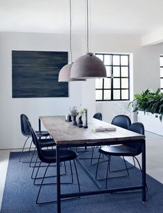 Danish dining room in white and blue | cozy danish apartment