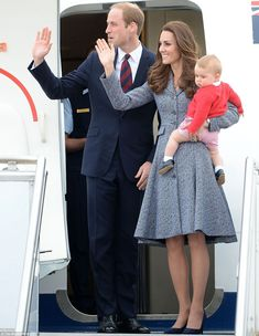 The Duke and Duchess of Cambridge and Prince George boarding a flight at RAAF Base Fairbairn in Canberra on Friday. April 25, 2014