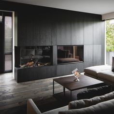 Living Room Decor Fireplace, Home Fireplace, Fireplace Surrounds, Fireplace Design, Home Living Room, Muebles Living, Interior Architecture, Interior Design, Contemporary Interior