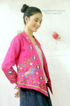 Batik Amarillis's Miss Popon  Lovely  Kebaya encim inspired and designed which features Iconic 'Dala' Swedish  wooden horse embroidery wear it over Miss Popon Camisole and The Warrior pants or any kind of bottoms will do nicely with this lovely Miss Popon.
