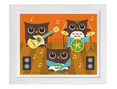 128 Owl Wall Art  Owl Band Wall Art  Owl Print  by leearthaus