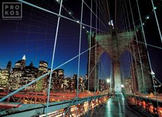 Brooklyn Bridge Tower and Cables at Night